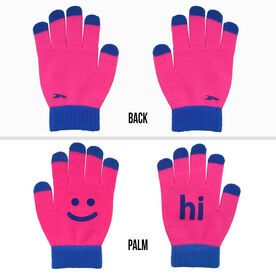 Running Gloves with Touchscreen Fingers - Pink/Blue Hi Bye
