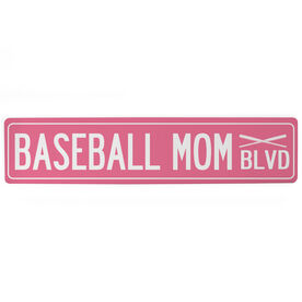 "Baseball Aluminum Room Sign - Baseball Mom Blvd (4""x18"")"