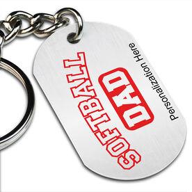 Softball Dad (Block Logo) Printed Dog Tag Keychain