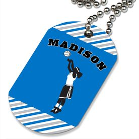 Basketball Printed Dog Tag Necklace Personalized Basketball Player Girl