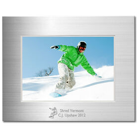 Snowboarding Engraved Frame Silver 5 x 7 with Snowboarding Icon