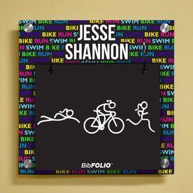 Personalized Swim Bike Run Repeat Female Wall BibFOLIO® Display