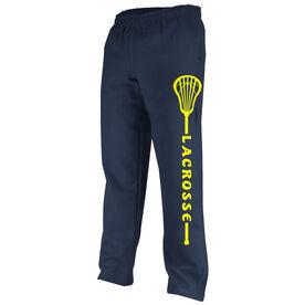Lacrosse Word In Stick Fleece Sweatpants