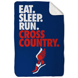 Cross Country Sherpa Fleece Blanket - Eat. Sleep. Cross Country. Vertical