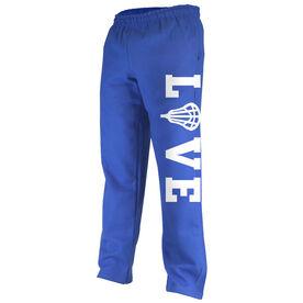 Girls Lacrosse Fleece Sweatpants - LOVE with Lacrosse Stick Head