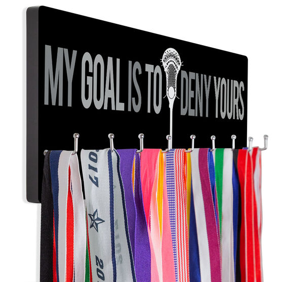Guys Lacrosse Hooked on Medals Hanger - My Goal Is To Deny Yours