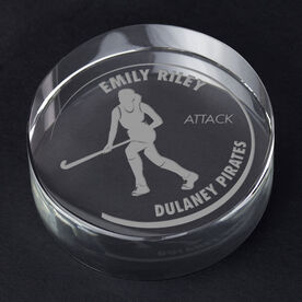 Field Hockey Personalized Engraved Crystal Gift - Customized Player