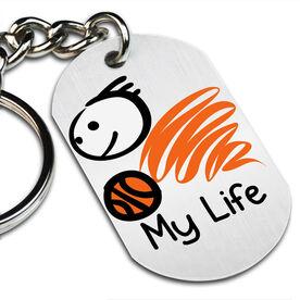 My Life Basketball (Male) Printed Dog Tag Keychain