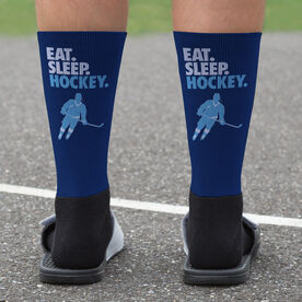 Hockey Printed Mid-Calf Socks - Eat Sleep Hockey