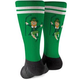 Hockey Printed Mid-Calf Socks - Lucky Hockey Leprechaun
