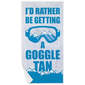 Skiing & Snowboarding Premium Beach Towel - I'd Rather Be Getting A Goggle Tan