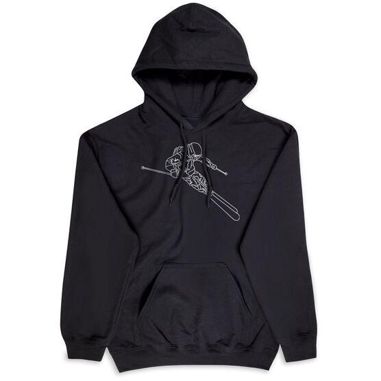 Skiing Hooded Sweatshirt - Skier Sketch