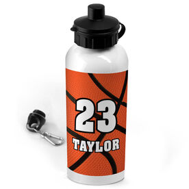 Basketball 20 oz. Stainless Steel Water Bottle Personalized Big Number with Basketball