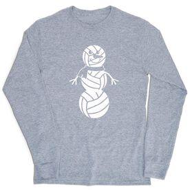 Volleyball Tshirt Long Sleeve - Volleyball Snowman