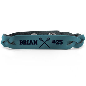 Guys Lacrosse Leather Engraved Bracelet Name Crossed Sticks Number