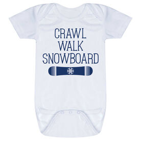 Snowboarding Baby One-Piece - Crawl Walk Snowboard