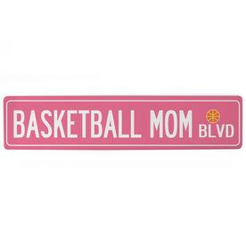 "Basketball Aluminum Room Sign - Basketball Mom Blvd (4""x18"")"