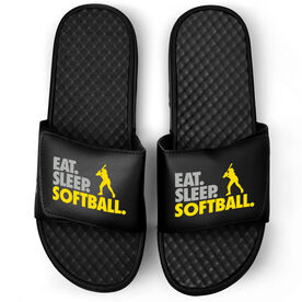 Softball Black Slide Sandals - Eat Sleep Softball