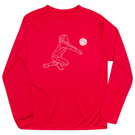 Volleyball Long Sleeve Performance Tee - Volleyball Girl Player Sketch