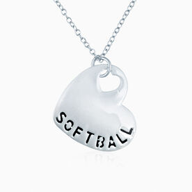 Sport Heart - Softball Silver  Necklace