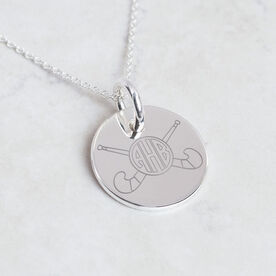 Sterling Silver 20mm Circle Necklace Field Hockey Monogram