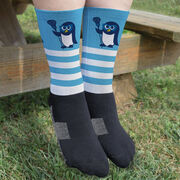 Girls Lacrosse Printed Mid-Calf Socks - Lax Penguin