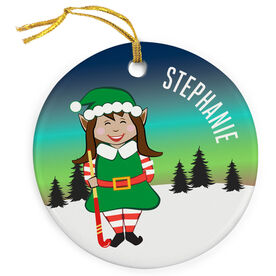 Field Hockey Porcelain Ornament Christmas Elf