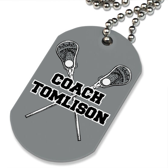 Lacrosse Printed Dog Tag Necklace Personalized Coach