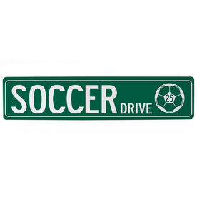 "Soccer Aluminum Room Sign - Soccer Drive With Ball And Number (4""x18"")"