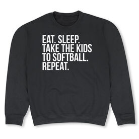 Softball Crew Neck Sweatshirt - Eat Sleep Take The Kids to Softball