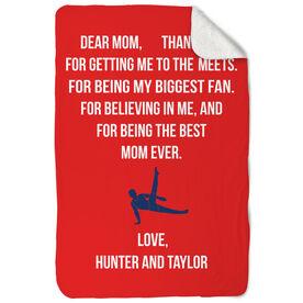 Gymnastics Sherpa Fleece Blanket - Dear Mom Heart (Guy Gymnast)