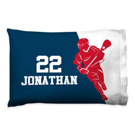 Guys Lacrosse Pillowcase - Personalized Player Silhouette