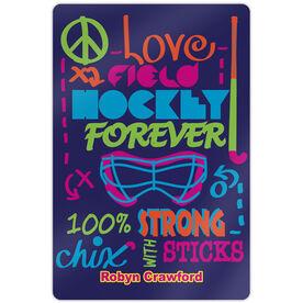 "Field Hockey 18"" X 12"" Aluminum Room Sign Peace Love Field Hockey Forever"