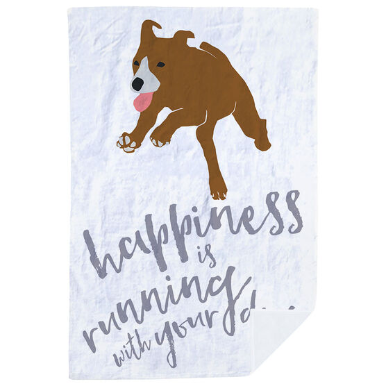Running Premium Blanket - Happiness Is Running With Your Dog