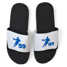 Basketball White Slide Sandals - Guy Player with Number