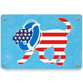 Swimming Metal Wall Art Panel - Patriotic Finn The Swim Dog