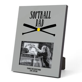 Softball Photo Frame - Softball Dad With Crossed Bats