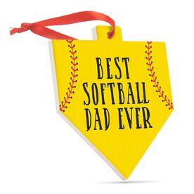 Softball Home Plate Ceramic Ornament - Best Softball Dad Ever