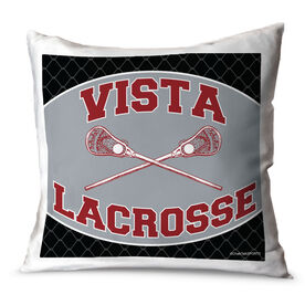 Guys Lacrosse Throw Pillow Personalized Lacrosse Team With Crossed Sticks