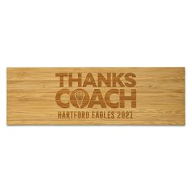 "Guys Lacrosse 12.5"" X 4"" Engraved Bamboo Removable Wall Tile - Thanks Coach"