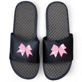 Cheerleading Navy Slide Sandals - Polka Dot Bow