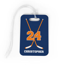 Hockey Bag/Luggage Tag - Personalized Hockey Crossed Sticks