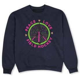 Field Hockey Crew Neck Sweatshirt - Peace Love Field Hockey Flowers
