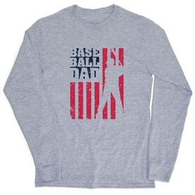 Baseball Tshirt Long Sleeve - Baseball Dad American Flag