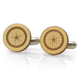 Triathlon Engraved Wood Cufflinks Bike Wheel
