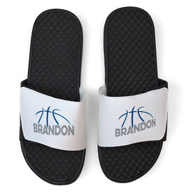 Basketball White Slide Sandals - Basketball Lines with Name