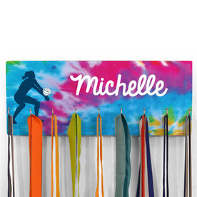 Volleyball Hooked on Medals Hanger - Personalized Player With Tie-Dye