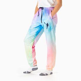 Girls Lacrosse Lounge Pants - Watercolor Lax Girl