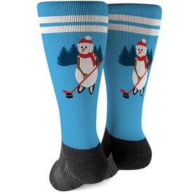 Hockey Printed Mid-Calf Socks - Hockey Snowman