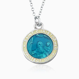St. Christopher Hockey Player Guardian Medal Necklace (2.3cm)